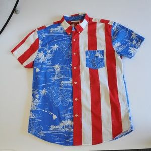 Arizona Jeans Mens Button-up Red, White & Blue